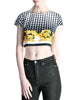 Versace Vintage Checkered Baroque Crop Top - Amarcord Vintage Fashion  - 1