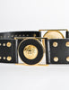 Versace Vintage Black and Gold Studded Medusa Belt - Amarcord Vintage Fashion  - 3