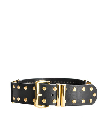Versace Vintage Black and Gold Studded Medusa Belt
