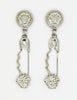 Versace Vintage Giant Silver Medusa Safety Pin Earrings - Amarcord Vintage Fashion  - 2