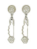 Versace Vintage Giant Silver Medusa Safety Pin Earrings - Amarcord Vintage Fashion  - 1
