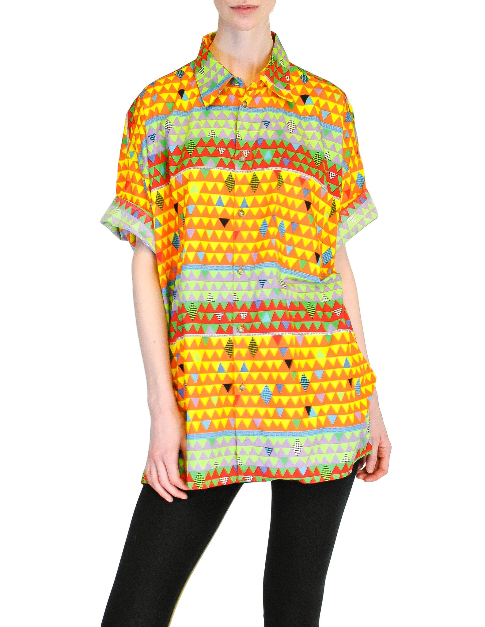 Versace Vintage Colorful Triangle Graphic Print Button Up Shirt - Amarcord Vintage Fashion  - 1
