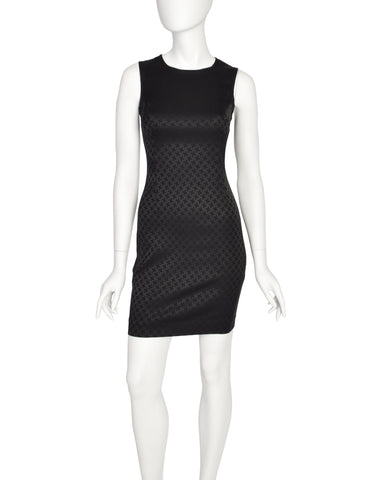 Versus Versace Vintage Black Jacquard Stretch Bodycon Mini Dress
