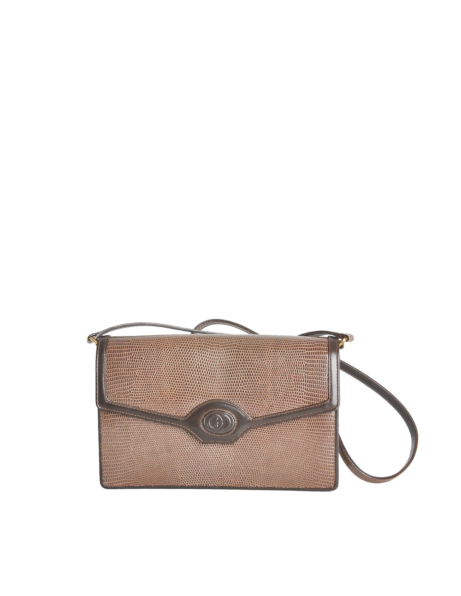 Gucci Vintage Brown Lizard Skin Clutch Bag - Amarcord Vintage Fashion  - 1