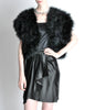 Vintage Black and Silver Marabou Bolero Vest - Amarcord Vintage Fashion  - 2