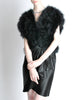 Vintage Black and Silver Marabou Bolero Vest - Amarcord Vintage Fashion  - 4
