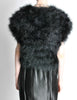Vintage Black and Silver Marabou Bolero Vest - Amarcord Vintage Fashion  - 6
