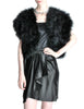 Vintage Black and Silver Marabou Bolero Vest - Amarcord Vintage Fashion  - 1
