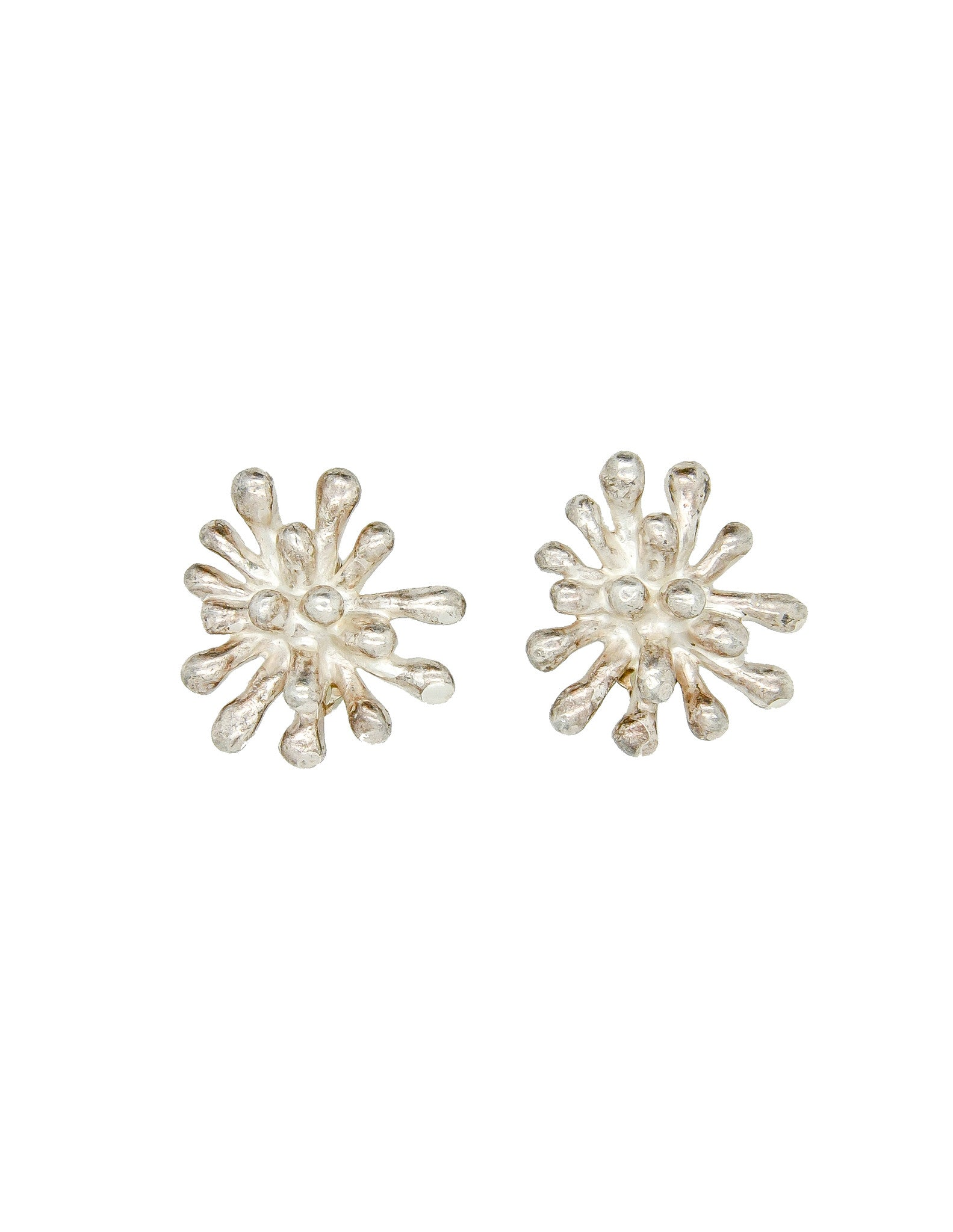 Christian Lacroix Vintage Silver Chrysanthemum Flower Earrings - Amarcord Vintage Fashion  - 1