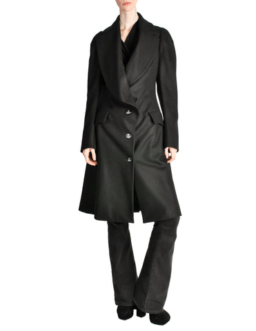 Vivienne Westwood Red Label Black Wool Draped Coat