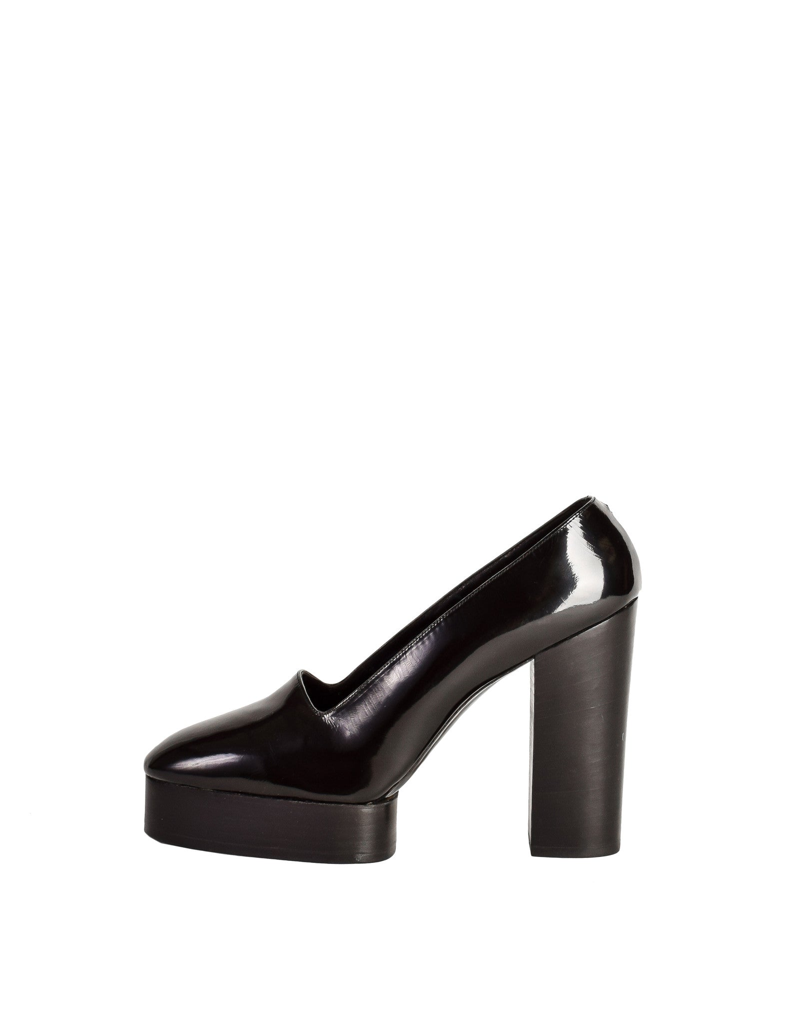 Walter Steiger Vintage Black Patent Leather Platform Heels Shoes - Amarcord Vintage Fashion  - 1