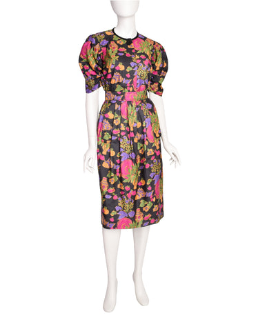 Yves Saint Laurent Vintage Floral Vase Print Silk Top and Skirt Set