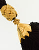 YSL Vintage Black and Gold Braided Cord and Tassel Tie Belt