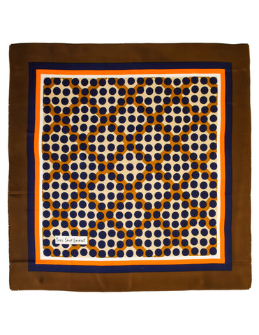 Yves Saint Laurent Vintage Brown Orange Blue Geometric Mod Silk Scarf