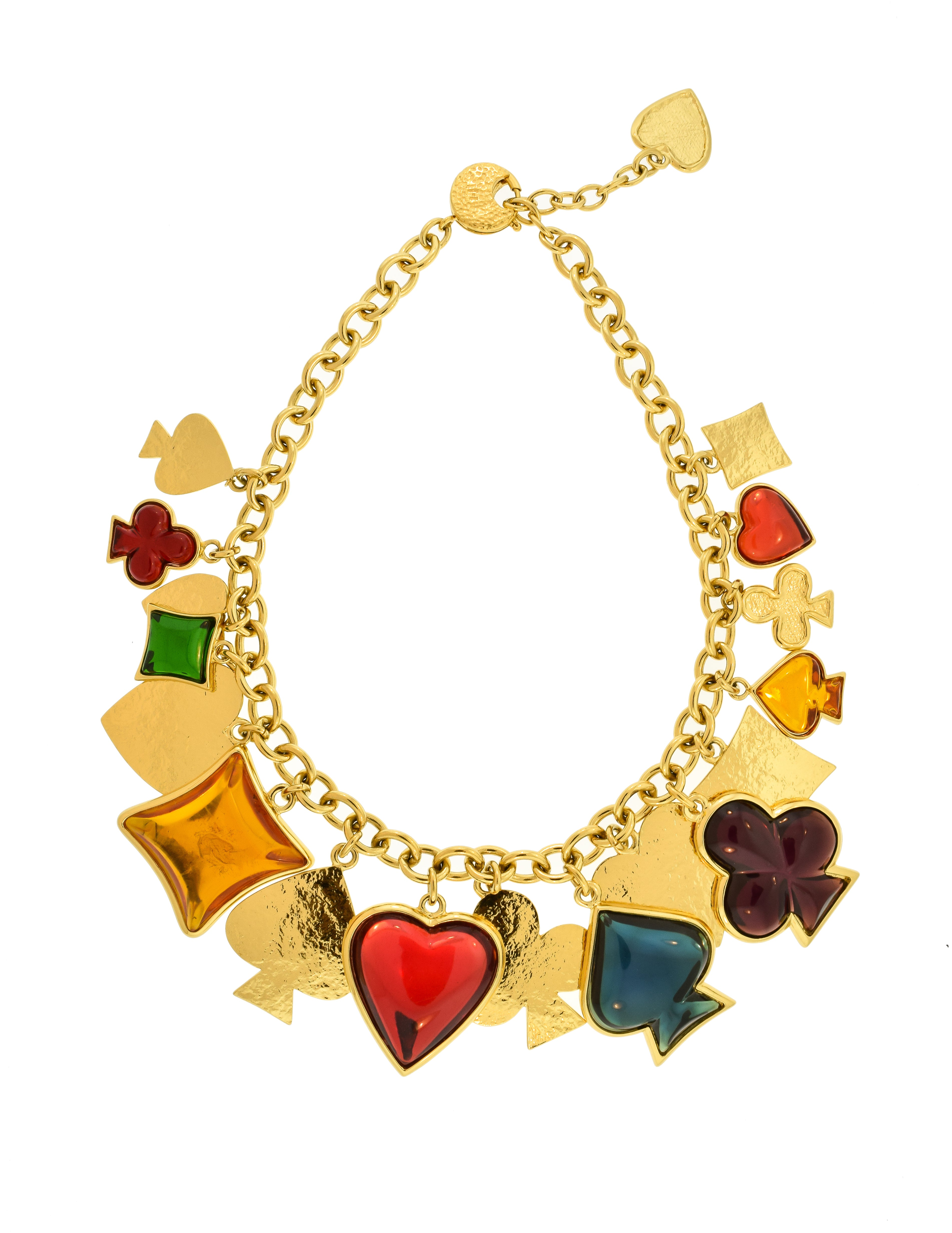 YSL Vintage Multicolor Playing Card Suits Pendant Charm Gold Collar Necklace