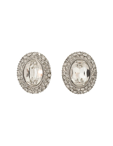 YSL Vintage Oversized Oval Clear Rhinestone Silver Statement Earrings