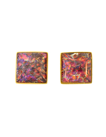YSL Vintage Saturn Red Dichroic Glass Gold Earrings