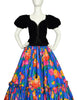 Yves Saint Laurent Vintage Black Velvet Corset Top and Blue Floral Silk Skirt Set