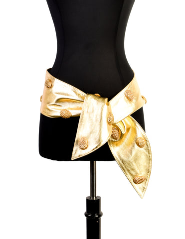 YSL Vintage Gold Pinecone Stud Metallic Leather Wrap Belt