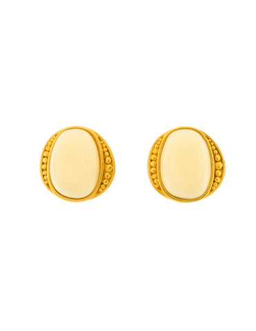 YSL Vintage White Gumdrop Cabochon Brushed Gold Earrings