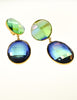 YSL Vintage Oversized Faceted Iridescent Blue Green Gradient Dangle Earrings