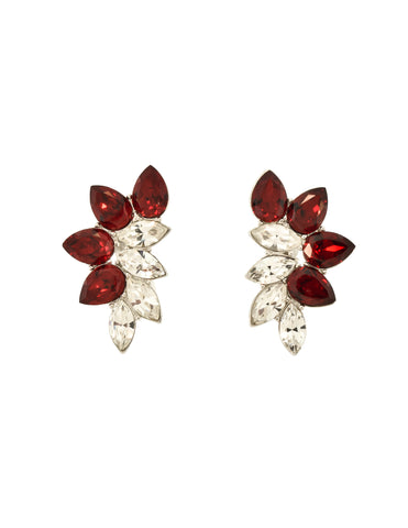 Yves Saint Laurent Vintage Red Rhinestone Silver Earrings