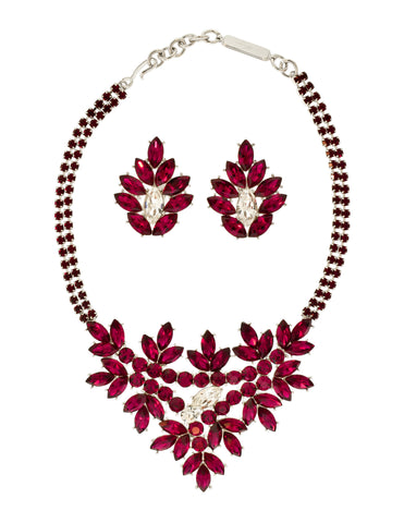 YSL Vintage Deep Magenta Rhinestone Bib Necklace and Earrings Set