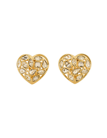 YSL Vintage Gold Aphrodite Rhinestone Heart Earrings