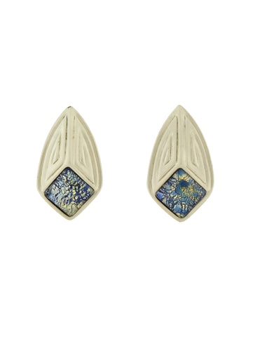 YSL Vintage Matte Silver and Blue Dichroic Glass Glass Earrings