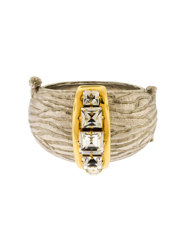 Yves Saint Laurent Vintage Silver and Gold Faux Bois Wood Grain Crystal Hinged Cuff Bracelet