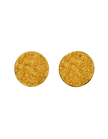 YSL Vintage Gold Textured Nugget Round Disc Earrings