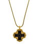 YSL Vintage Gold and Black Glass Maltese Cross Necklace