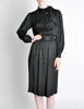 Saint Laurent Rive Gauche Black Silk Jacquard Secretary Dress - Amarcord Vintage Fashion  - 3