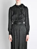 Saint Laurent Rive Gauche Black Silk Jacquard Secretary Dress - Amarcord Vintage Fashion  - 4
