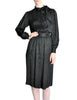Saint Laurent Rive Gauche Black Silk Jacquard Secretary Dress - Amarcord Vintage Fashion  - 1