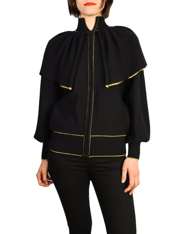 Yves Saint Laurent Vintage Black Capelet Collar Knit Sweater Jacket
