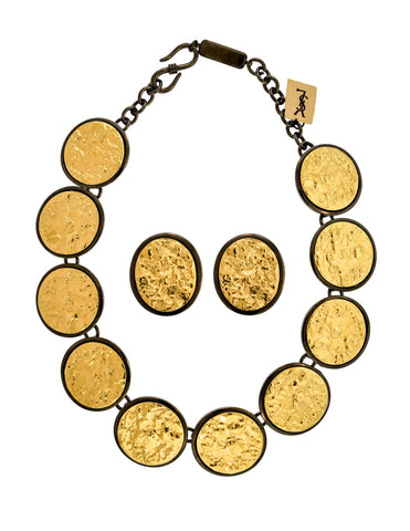 Yves Saint Laurent Vintage Numbered Runway Gold Nugget and Gunmetal Necklace, Bracelet, and Earrings Set