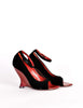 Yves Saint Laurent Vintage Black Velvet & Red Curved Wedge Heels - Amarcord Vintage Fashion  - 4