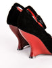Yves Saint Laurent Vintage Black Velvet & Red Curved Wedge Heels - Amarcord Vintage Fashion  - 6