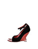 Yves Saint Laurent Vintage Black Velvet & Red Curved Wedge Heels - Amarcord Vintage Fashion  - 1