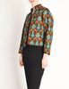 Yves Saint Laurent Vintage Multicolor Print Quilted Button Up Jacket