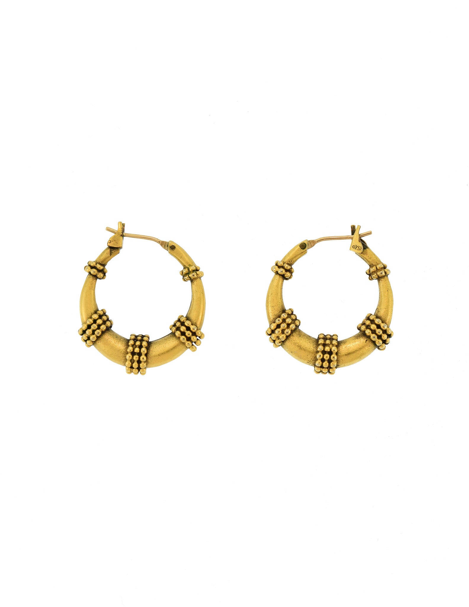 Yves Saint Laurent Vintage Brass Hoop Earrings - Amarcord Vintage Fashion  - 1