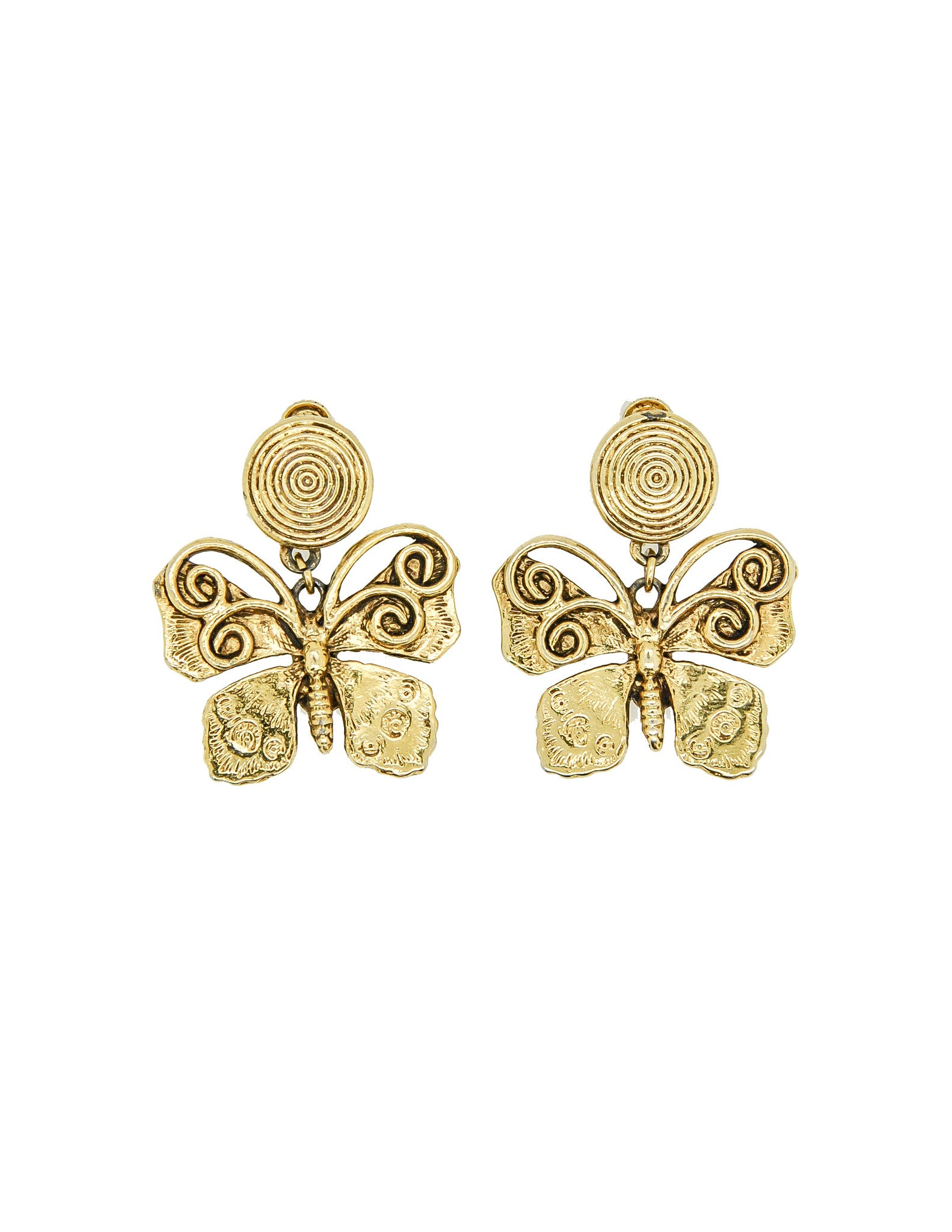 YSL Vintage Gold Butterfly Earrings - Amarcord Vintage Fashion  - 1