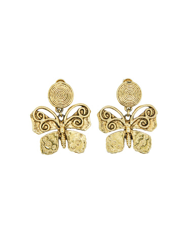 YSL Vintage Gold Butterfly Earrings
