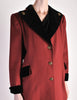 Saint Laurent Rive Gauche Vintage Burgundy & Black Wool Coat - Amarcord Vintage Fashion  - 4