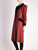 Saint Laurent Rive Gauche Vintage Burgundy & Black Wool Coat - Amarcord Vintage Fashion  - 6