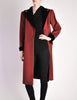 Saint Laurent Rive Gauche Vintage Burgundy & Black Wool Coat - Amarcord Vintage Fashion  - 2