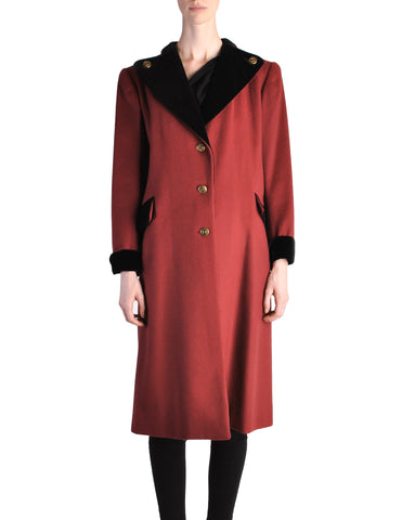 Saint Laurent Rive Gauche Vintage Burgundy & Black Wool Coat