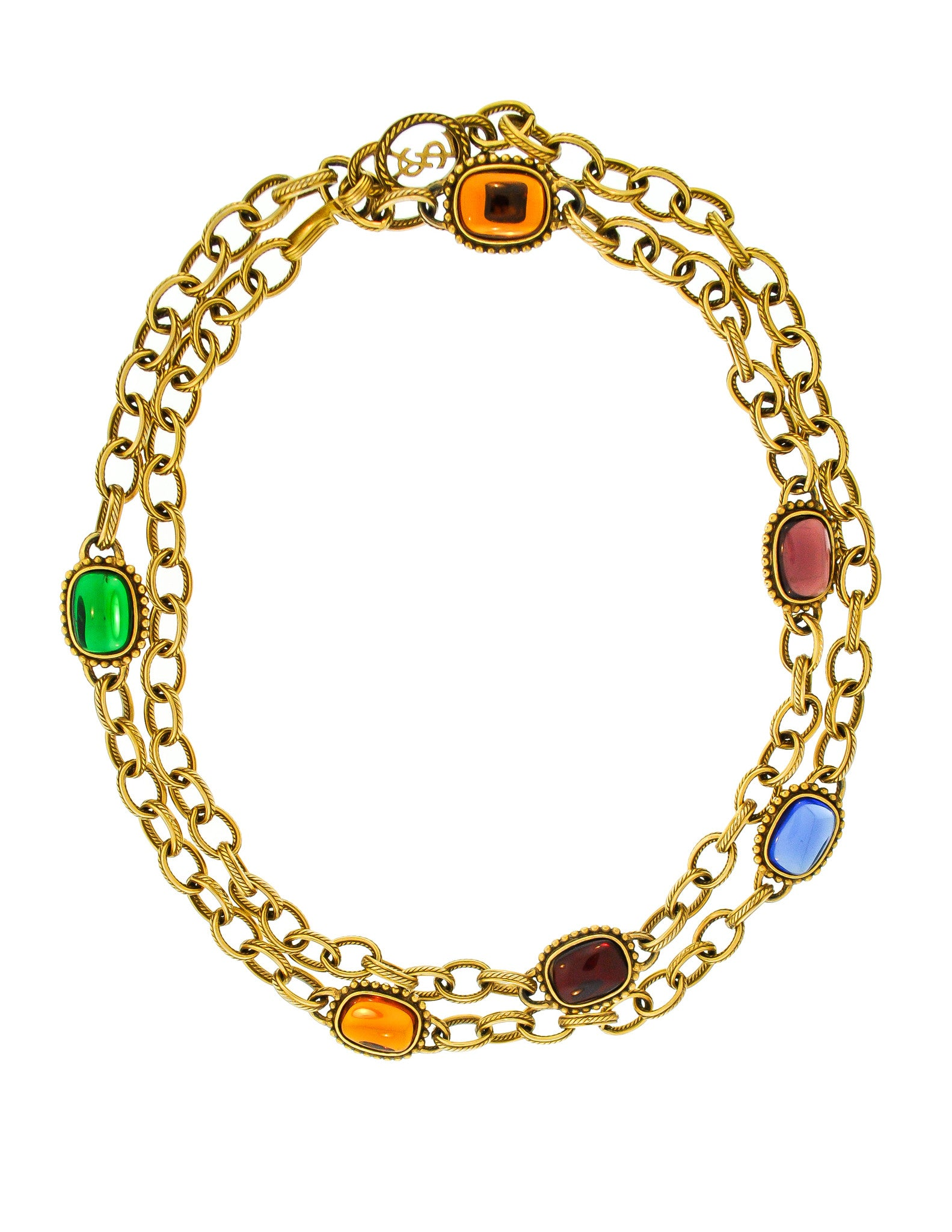 8adbff0d667 YSL Vintage Multicolor Jewel Gold Necklace - Amarcord Vintage Fashion - 1