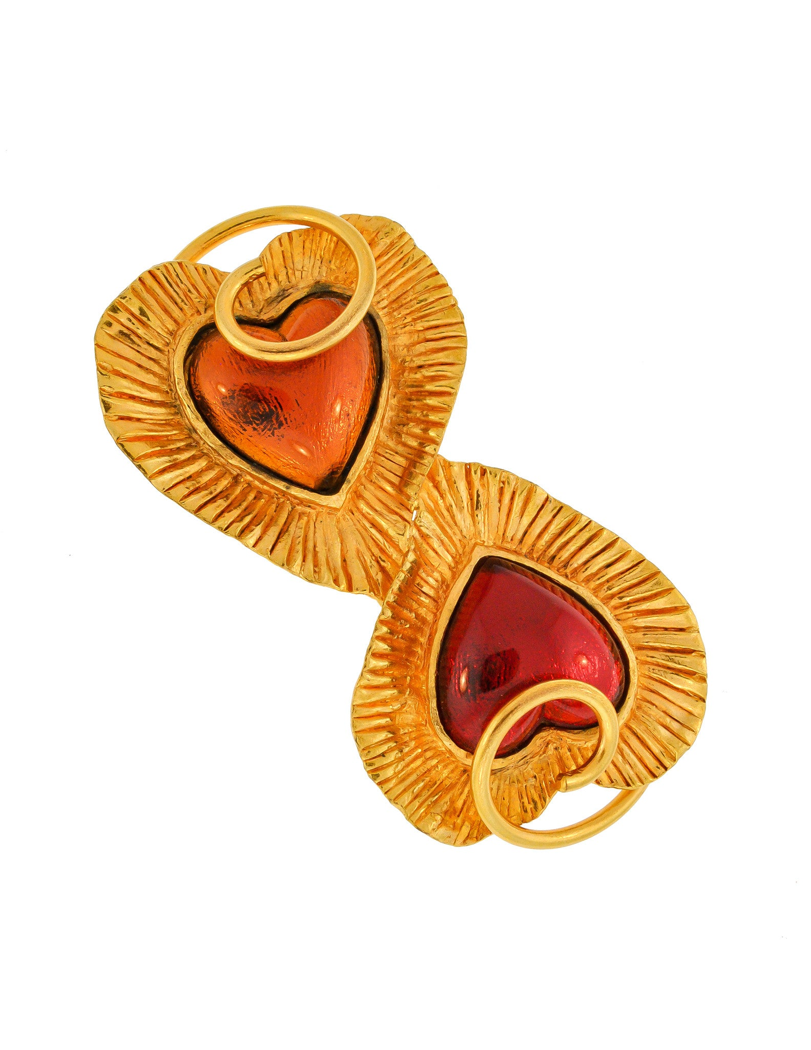 YSL Vintage Red & Orange Double Heart Gold Brooch - Amarcord Vintage Fashion  - 1